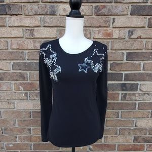 INC Womens Knit Embellished Crewneck Sweater Black